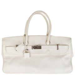 HERMES white Clemence leather & Palladium JPG I SHOULDER BIRKIN Bag