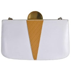 Hermes White Cognac Leather Gold Ice Cream Sac Evening Clutch Shoulder