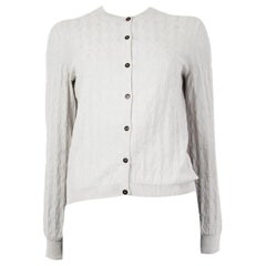 HERMES white cotton & cashmere Jacquard Cardigan Sweater 38 S