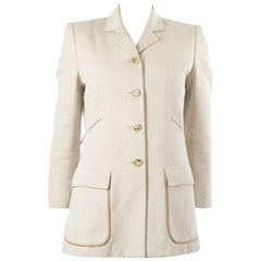 HERMES white cotton SHORT BUTTON FRONT Coat Jacket 34 XXS