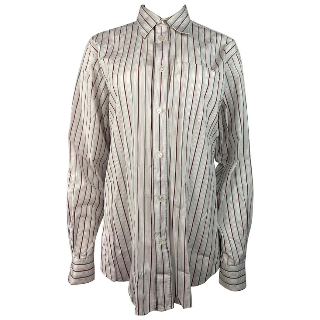 Hermes White Cotton Striped Shirt Size 42