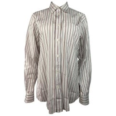 Hermes White Cotton Striped Shirt Size 42