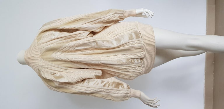 HERMES white cream wool collection sweater with silk suede strips - Unworn, New For Sale 5