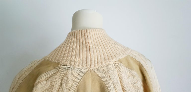 HERMES white cream wool collection sweater with silk suede strips - Unworn, New For Sale 6