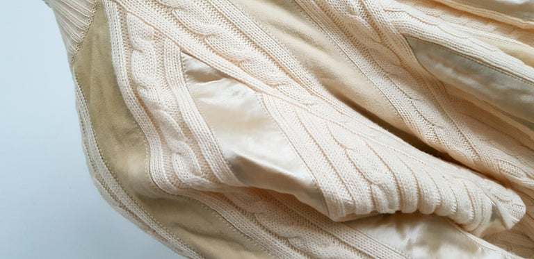 HERMES white cream wool collection sweater with silk suede strips - Unworn, New For Sale 7