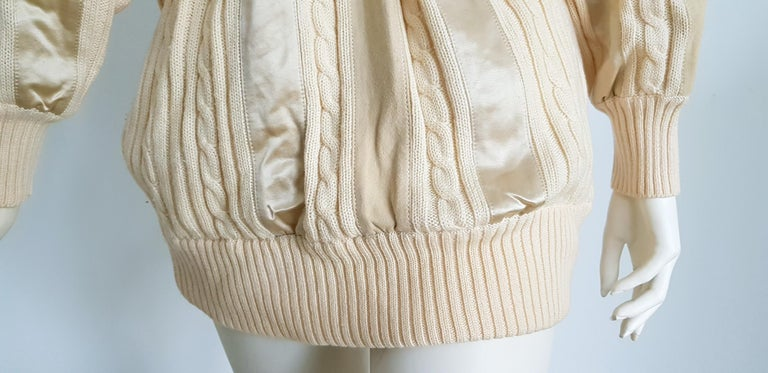 HERMES white cream wool collection sweater with silk suede strips - Unworn, New For Sale 8