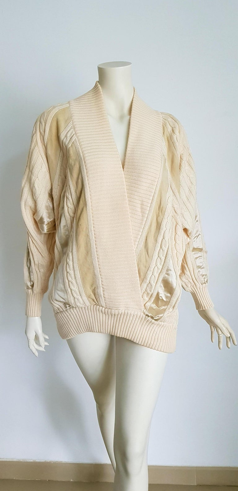HERMES white cream wool collection sweater with silk suede strips - Unworn, New.  SIZE: equivalent to about Small / Medium, please review approx measurements as follows in cm: lenght 79, chest underarm to underarm 60, bust circumference 120, sleeve