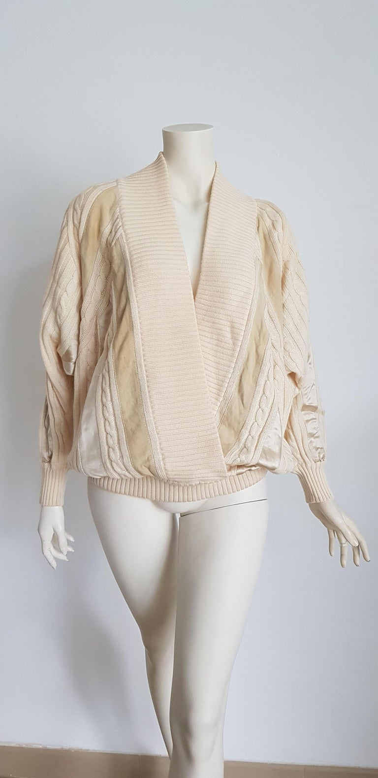 White HERMES white cream wool collection sweater with silk suede strips - Unworn, New For Sale