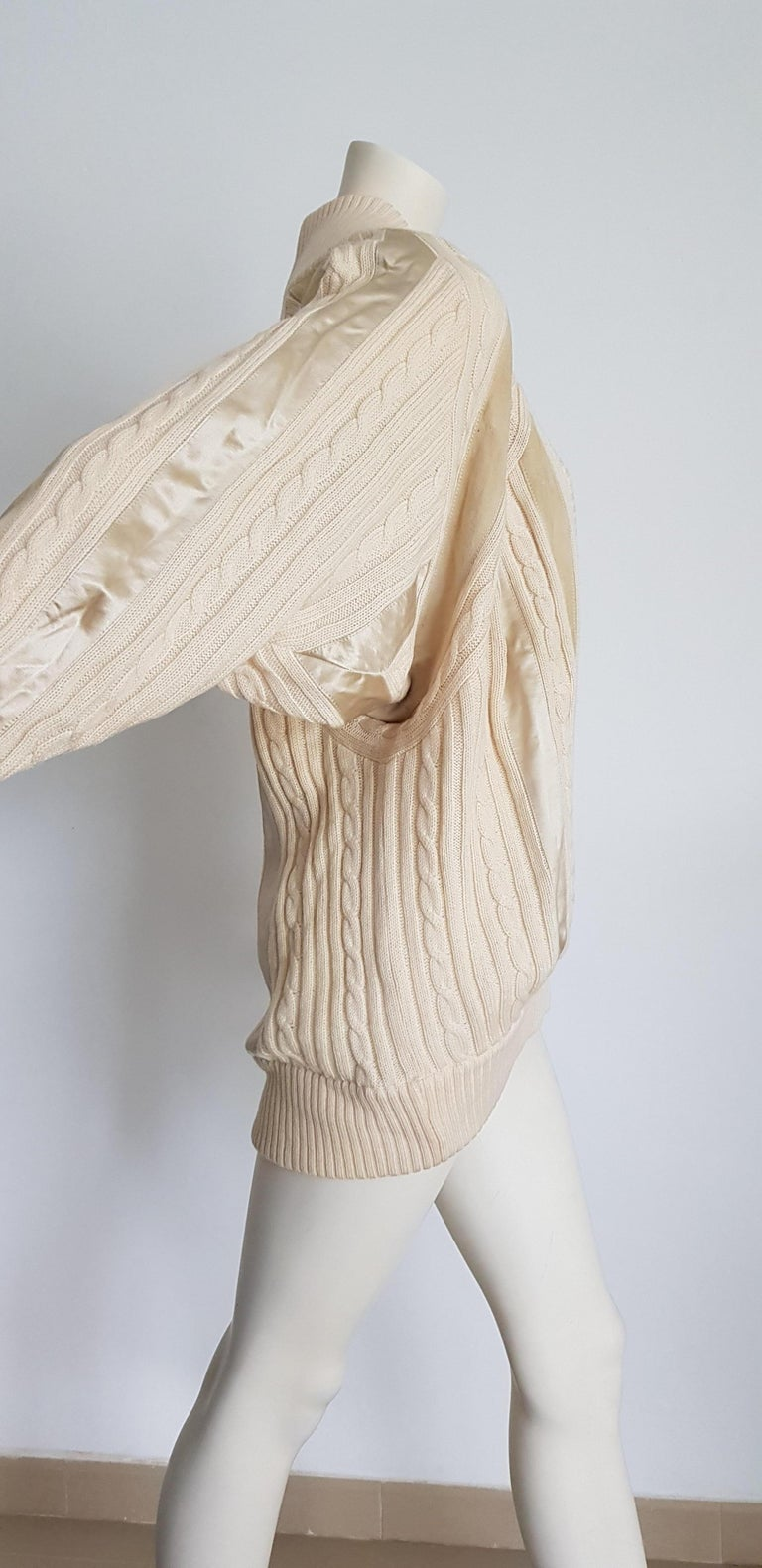 Women's or Men's HERMES white cream wool collection sweater with silk suede strips - Unworn, New For Sale