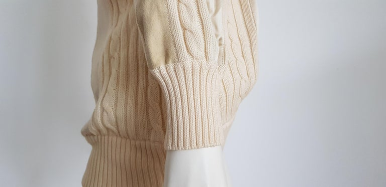HERMES white cream wool collection sweater with silk suede strips - Unworn, New For Sale 1