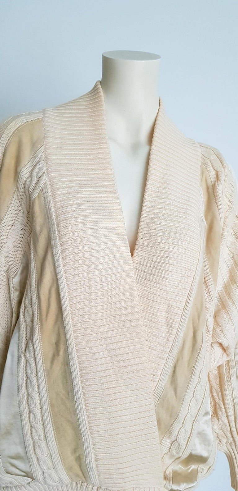 HERMES white cream wool collection sweater with silk suede strips - Unworn, New For Sale 2