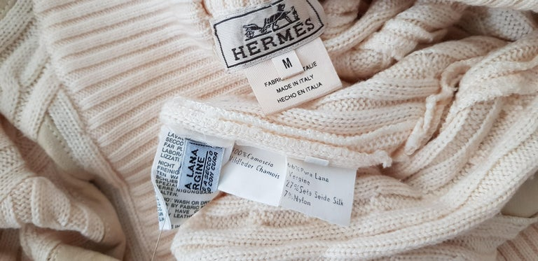HERMES white cream wool collection sweater with silk suede strips - Unworn, New For Sale 3
