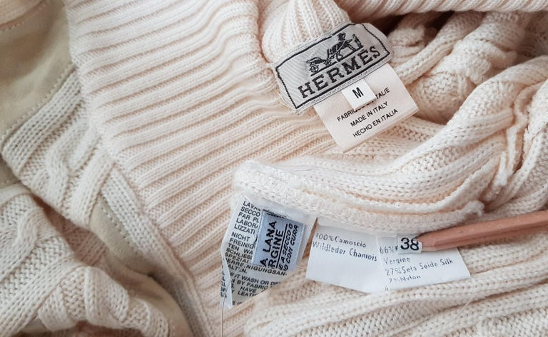 HERMES white cream wool collection sweater with silk suede strips - Unworn, New For Sale 4