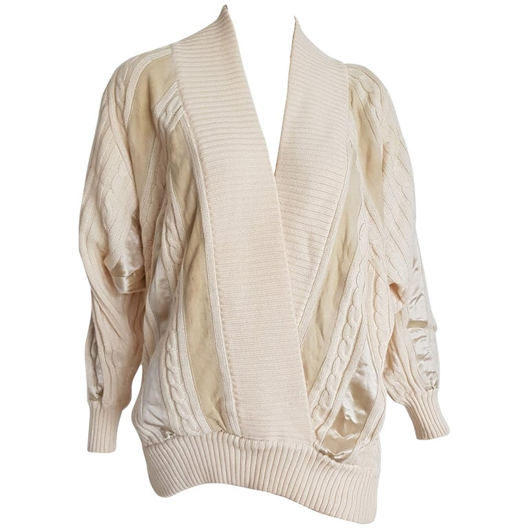 HERMES white cream wool collection sweater with silk suede strips - Unworn, New For Sale