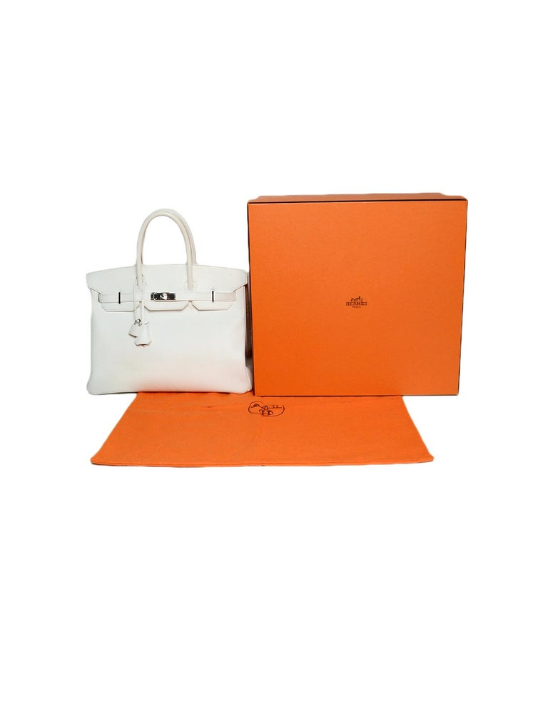 Hermes White Epsom 35cm Birkin Bag For Sale 6
