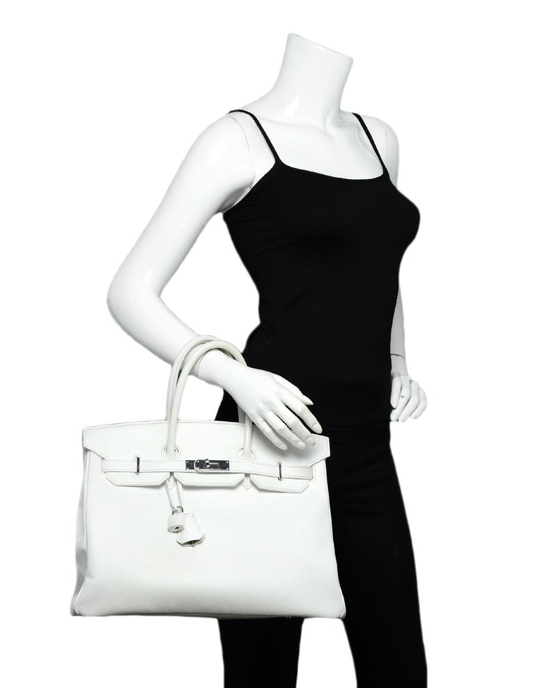 Hermes White Epsom 35cm Birkin Bag  Made In: France Year of Production: 2006 Color: White Hardware: Palladium hardware Materials: Epsom leather  Lining: White chevre leather Closure/Opening: Top flap with leather draw strap closure with rotating