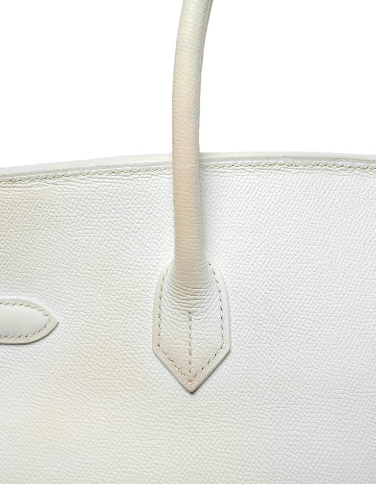 Hermes White Epsom 35cm Birkin Bag For Sale 1