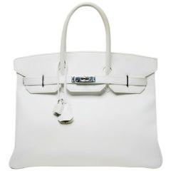 Hermes White Epsom 35cm Birkin Bag
