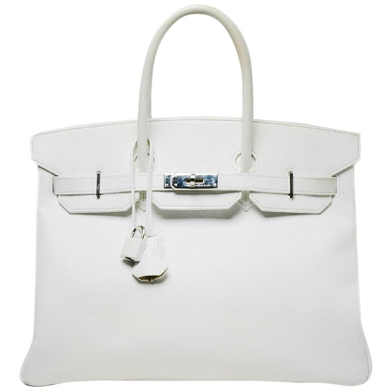 Hermes White Epsom 35cm Birkin Bag For Sale