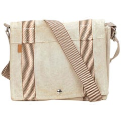 Hermes White Fourre Tout Besace Messenger PM