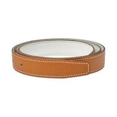 Hermes White/Gold Epsom and Swift Leather Reversible Belt Strap Size 95 CM