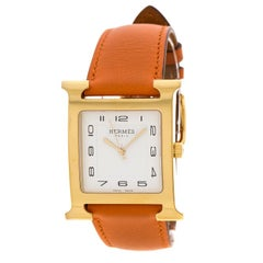 Hermes White Gold Plated Stainless Steel Heure H GM HH1.801 Women's Wristwatch 3