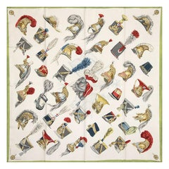 Hermes white & green COIFFES MILITAIRES 90 silk twill Scarf