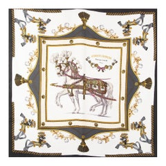 Hermes white grey HARNAIS FRANCAIS PREMIER EMPIRE 90 silk twill Scarf