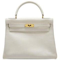 Hermes White Gulliver 28cm Kelly Retourne Bag