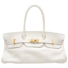 Hermes White Himalaya Clemence Leather JPG Shoulder Birkin 42