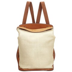 Hermes White Ivory Canvas Fabric Sherpa Backpack France