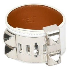 Hermès White Leather Collier De Chien Silver Tone Bracelet Small