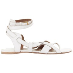 HERMES white leather cross stral gladiator ankle wrap thong sandals EU37.5