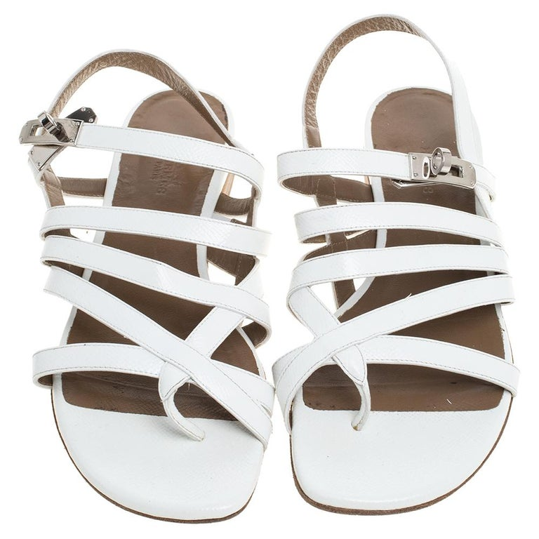 Gray Hermes White Leather Marine Strappy Flat Sandals Size 38.5 For Sale