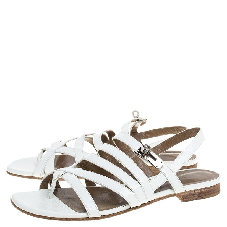 Women's Hermes White Leather Marine Strappy Flat Sandals Size 38.5 For Sale