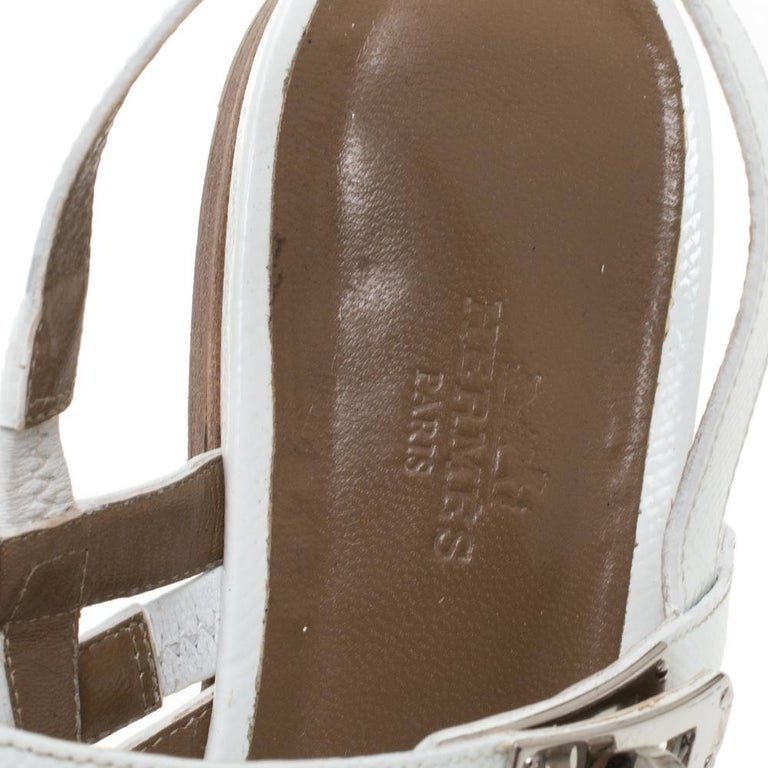 Hermes White Leather Marine Strappy Flat Sandals Size 38.5 For Sale 1