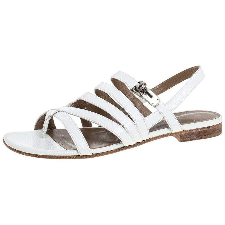 Hermes White Leather Marine Strappy Flat Sandals Size 38.5 For Sale