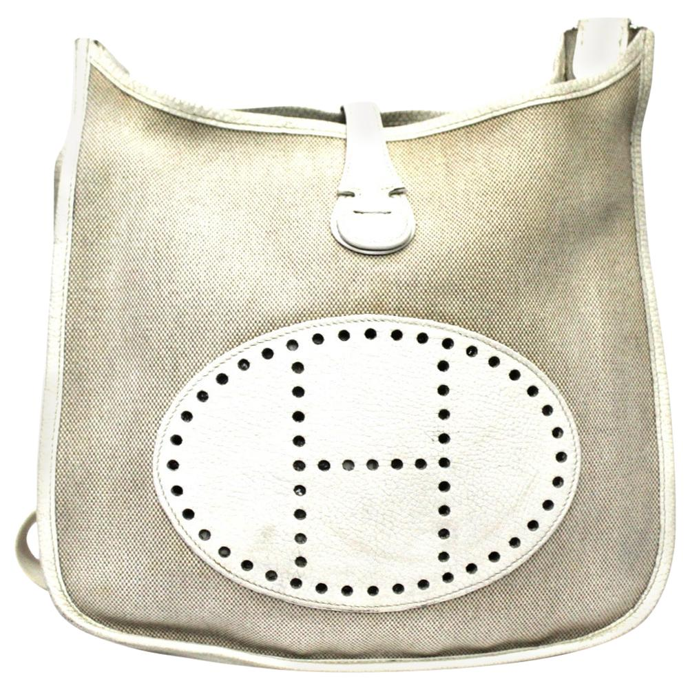 Hermès White Leather Shoulder Bag