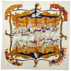 Hermes White & Multicolor 'Tournez Manege' Silk Scarf