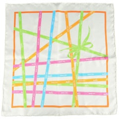 HERMES White Pink Green Blue & Orange Silk BOLDUC Ribbon Print Pocket Square