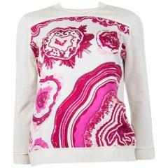 HERMES white & pink silk PIERRES ET CRISTAUX Sweater 36 XS