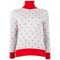 HERMES white & red cashmere & silk HEART TURTLENECK Sweater XS