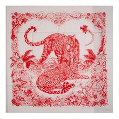 HERMES white red JUNGLE LOVE TATTOO 90 silk twill Scarf