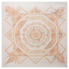 Hermes white ROCAILLE 140 MOUSSELINE silk chiffon Scarf