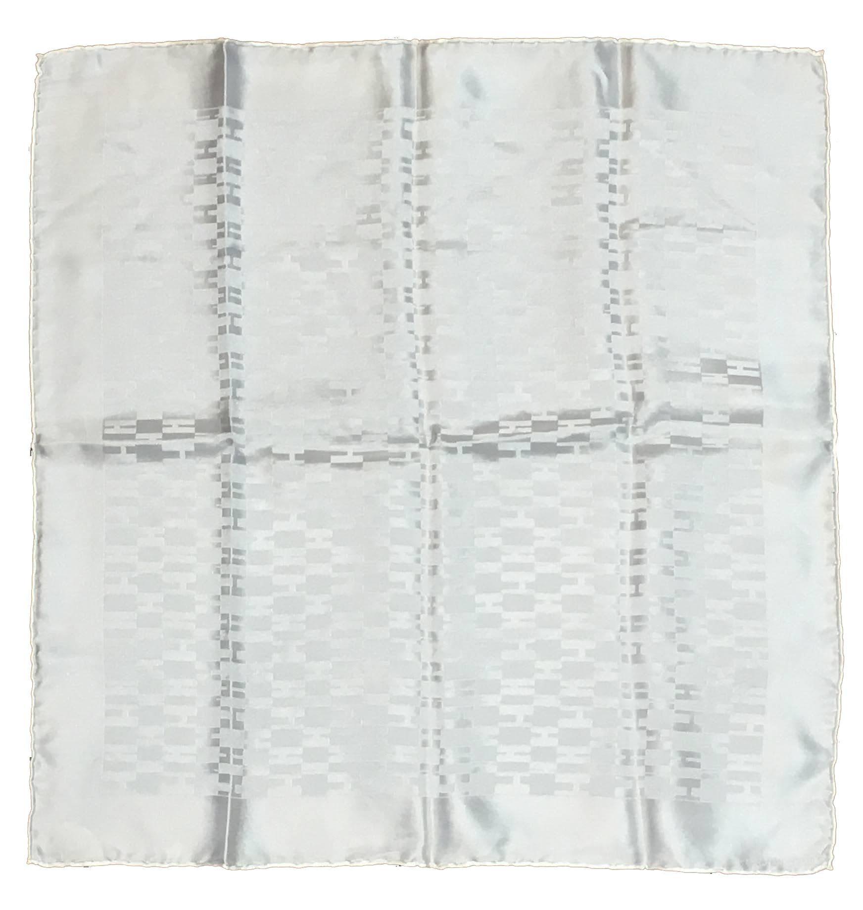 Hermes White Silk Woven H Pocket Square Handkerchief