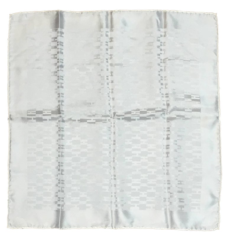 Hermes White Silk Woven H Pocket Square Handkerchief  For Sale
