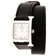 Hermes White Stainless Steel Heure H HH1.210 Women's Wristwatch 21 mm