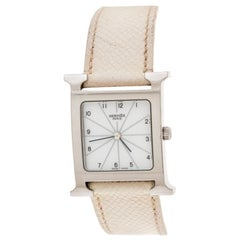 Hermes White Stainless Steel Heure H HH1.510 Women's Wristwatch 26 mm