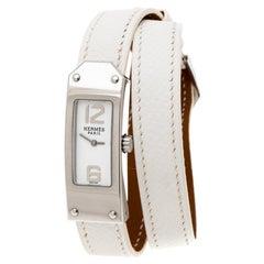 Hermes White Stainless Steel Kelly 2 Double  KT1.210 Women's Wristwatch 15 mm