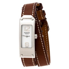 Hermes White Stainless Steel Kelly 2 Double Tour KT1.210 Women's Wristwatch 15 m